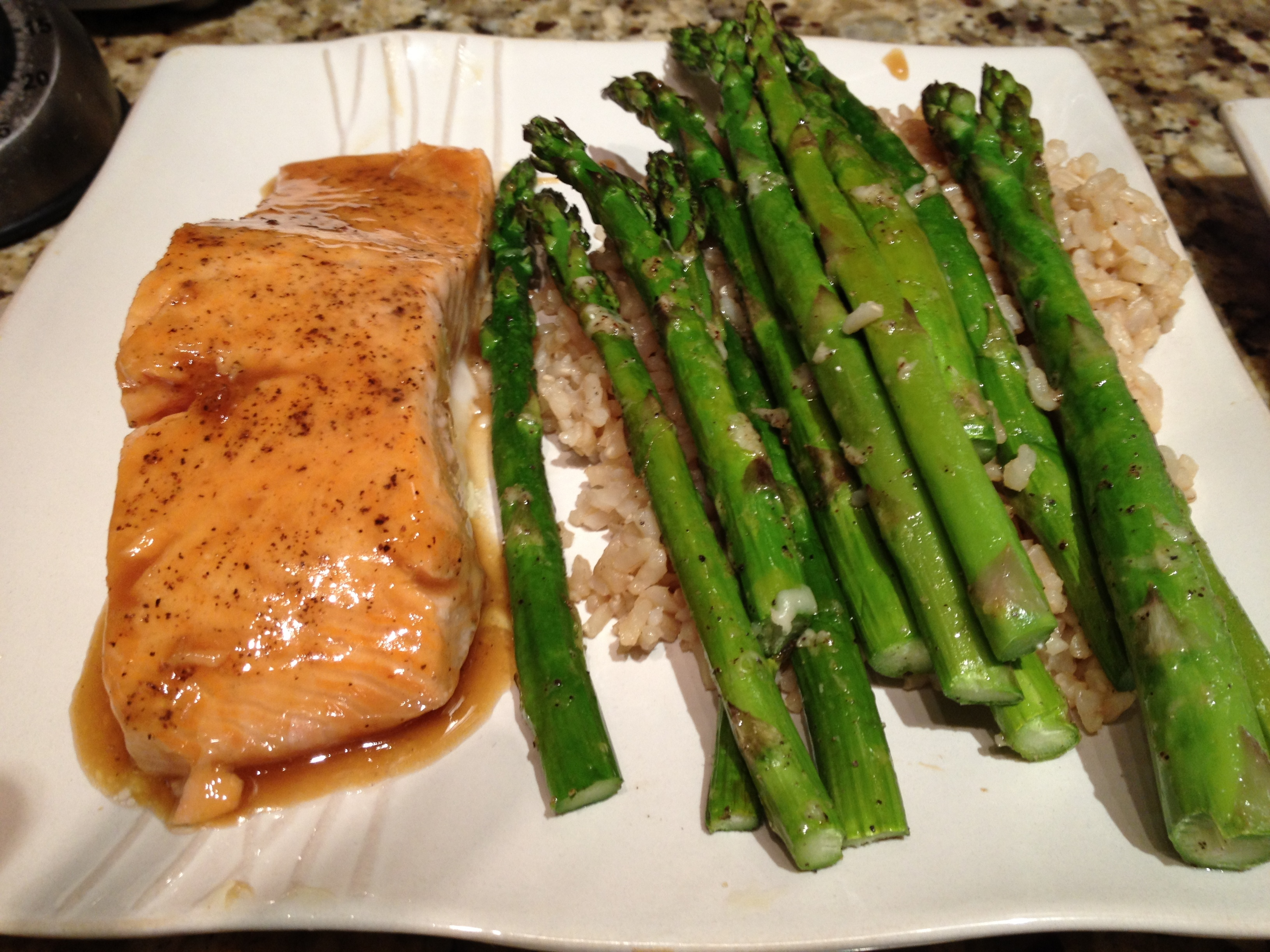 honey-mustard salmon with roasted parmesan asparagus.