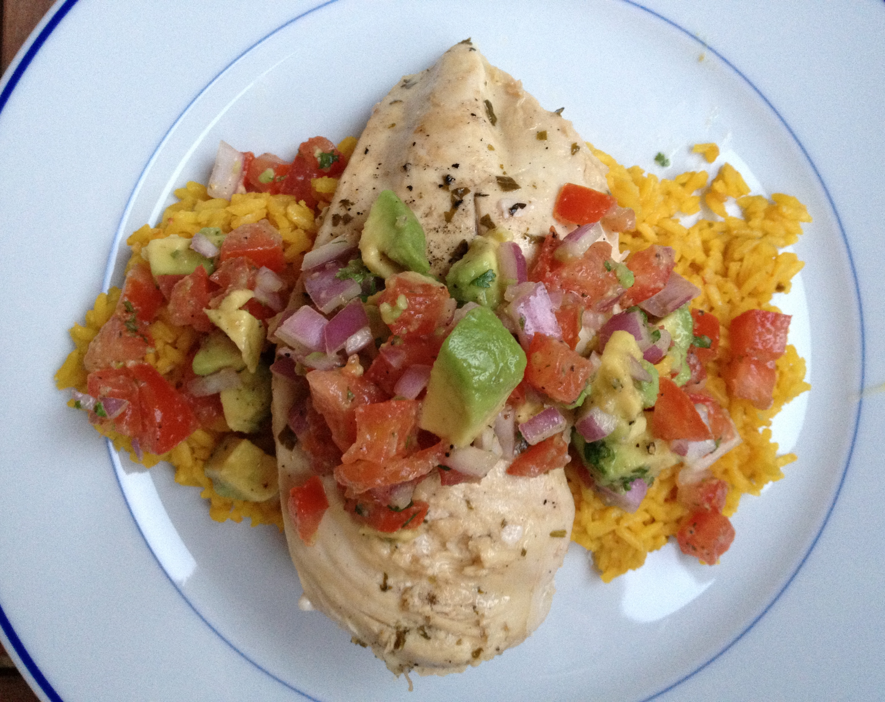 Cilantro-Lemon Chicken with Avocado Salsa
