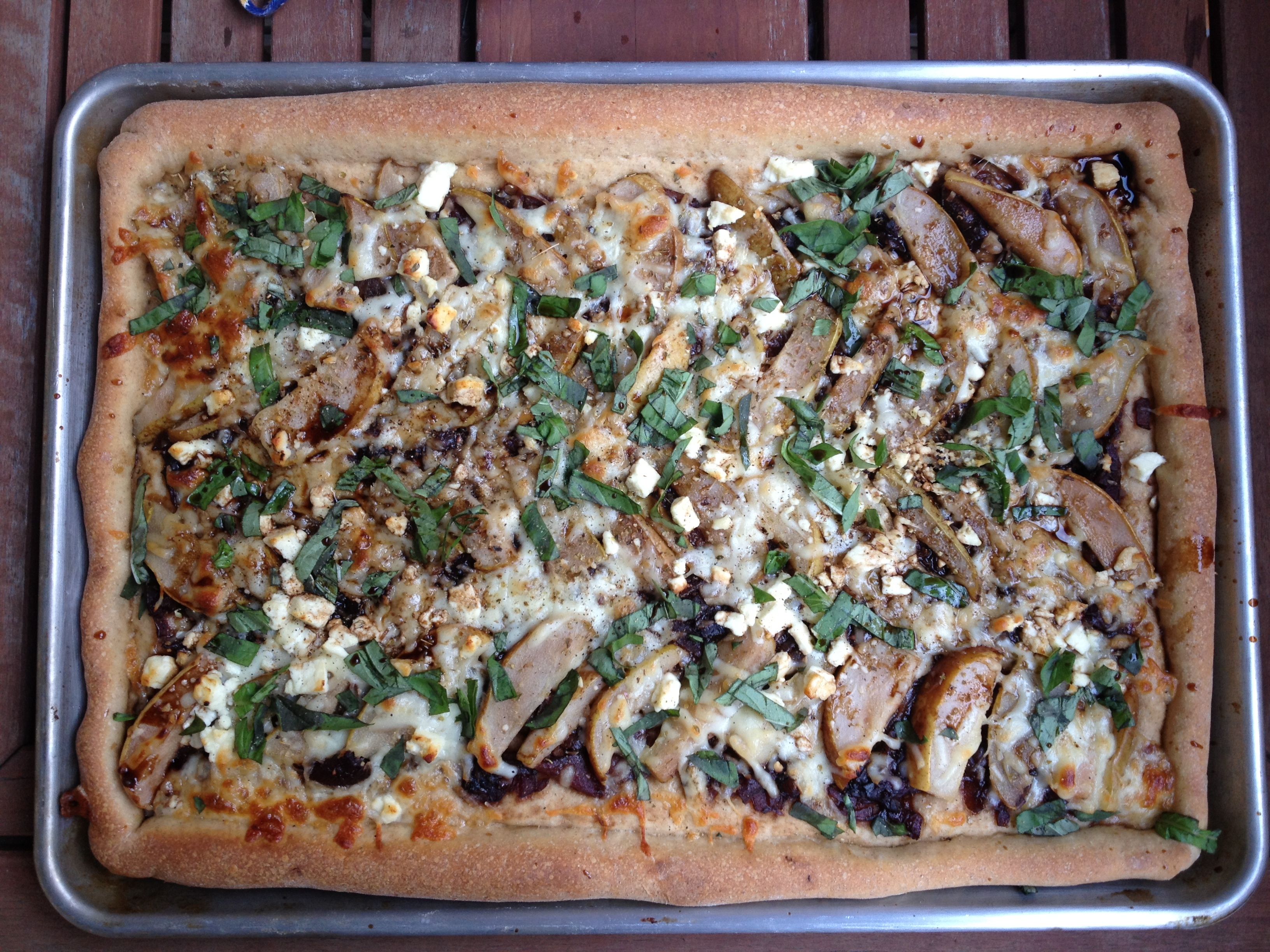 whole wheat caramelized onion and pear pizza.