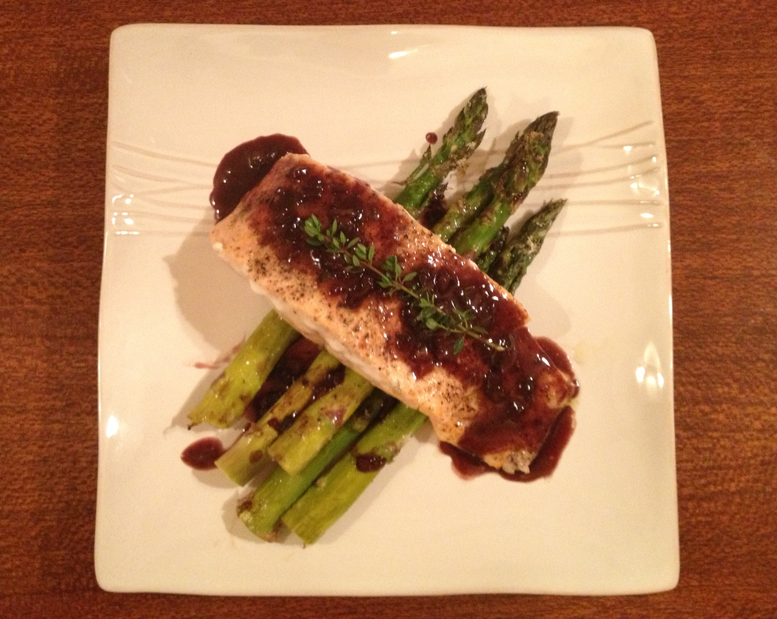 Salmon with Red Wine Sauce & Roasted Asparagus