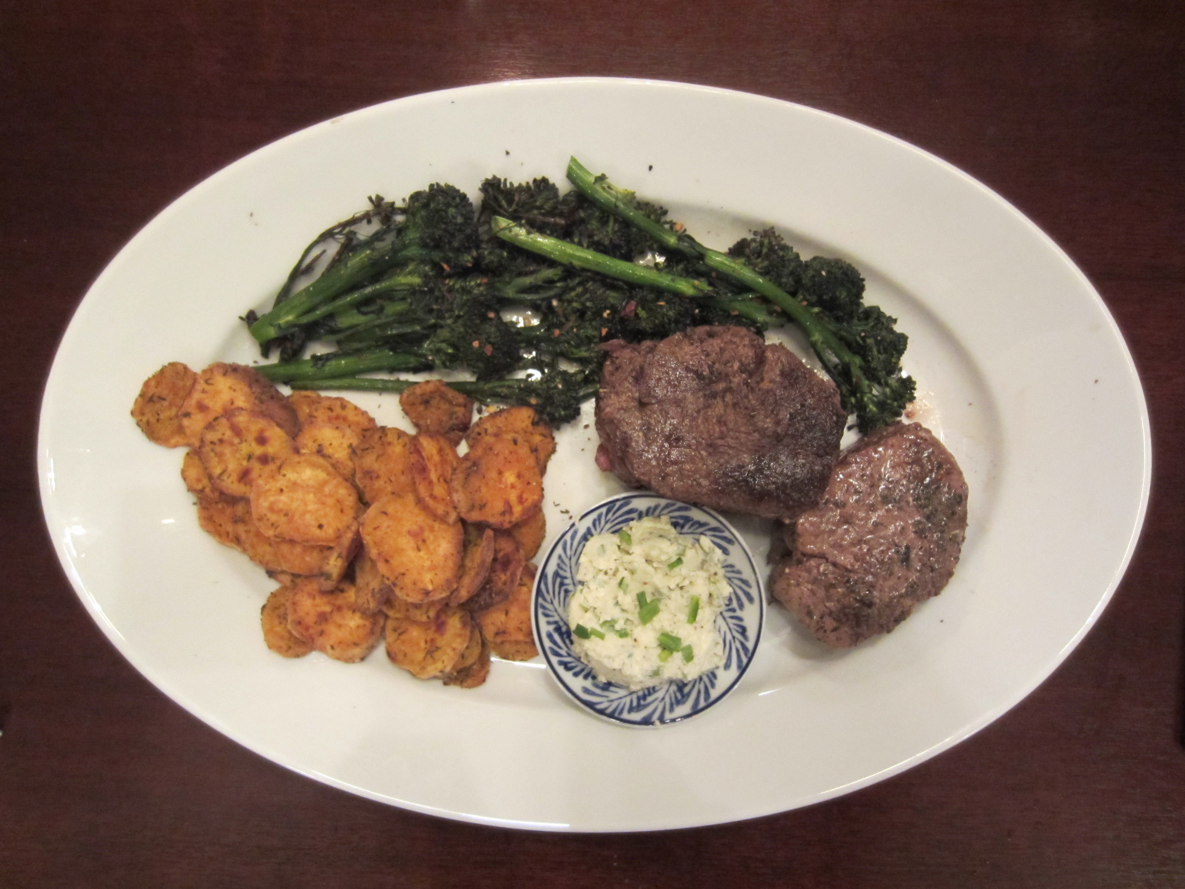 Beef Tenderloin with Sweet Potato Coins & Broccolini