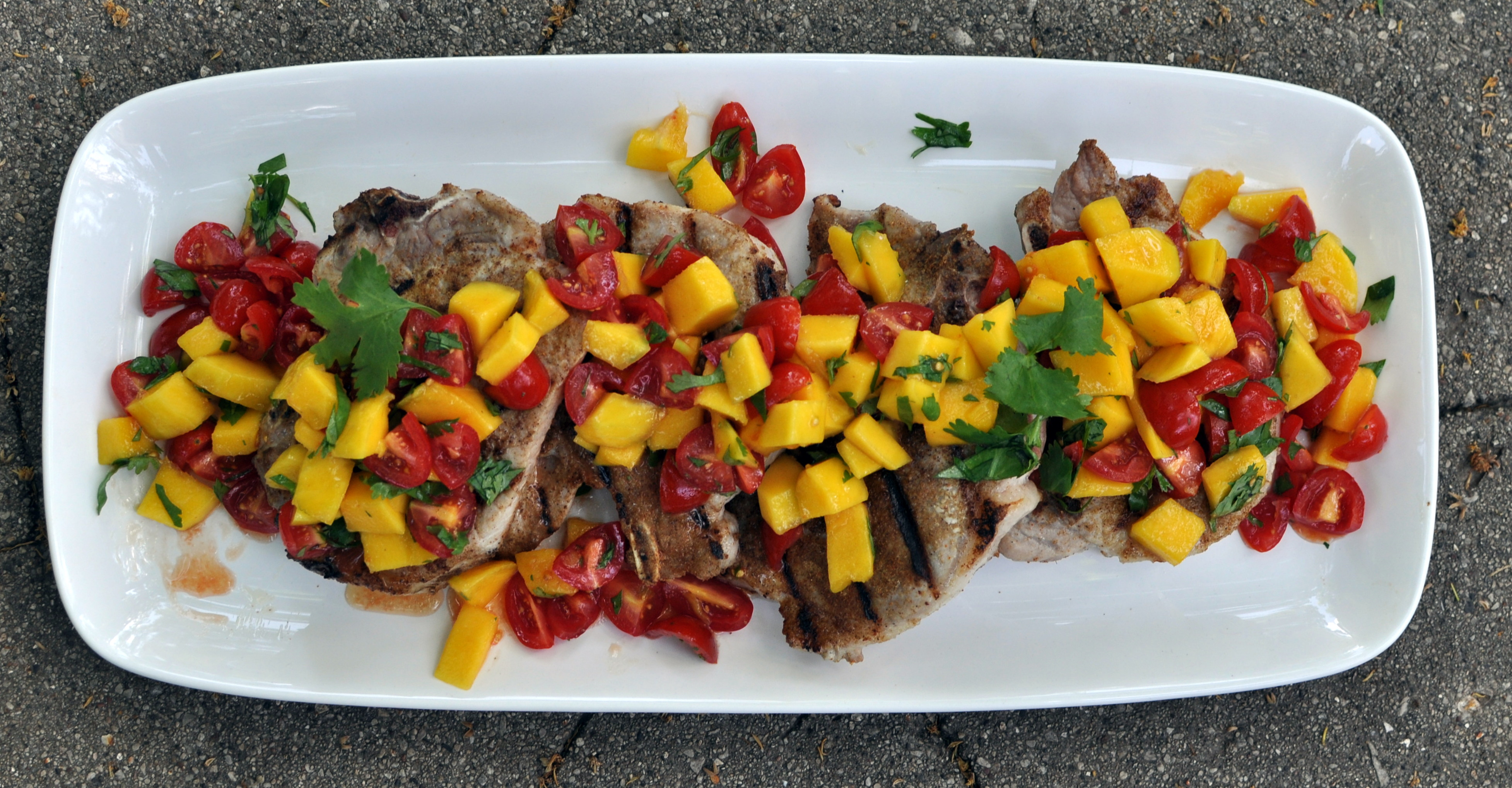 Caribbean Pork Chops with Mango Salsa