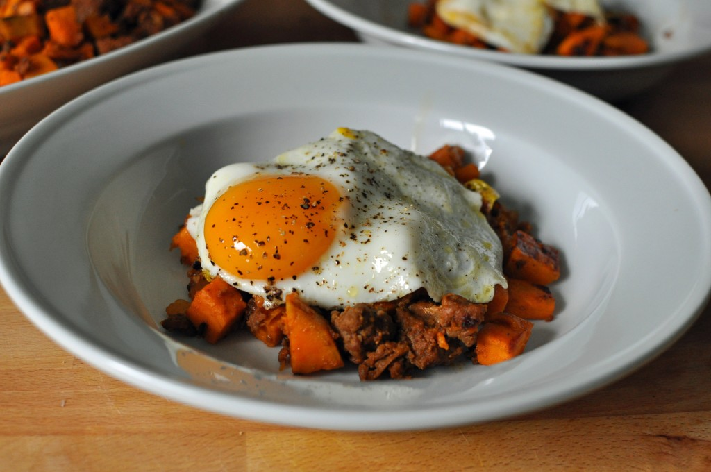 Sweet Potato and Sausage Hash with Fried Egg 1