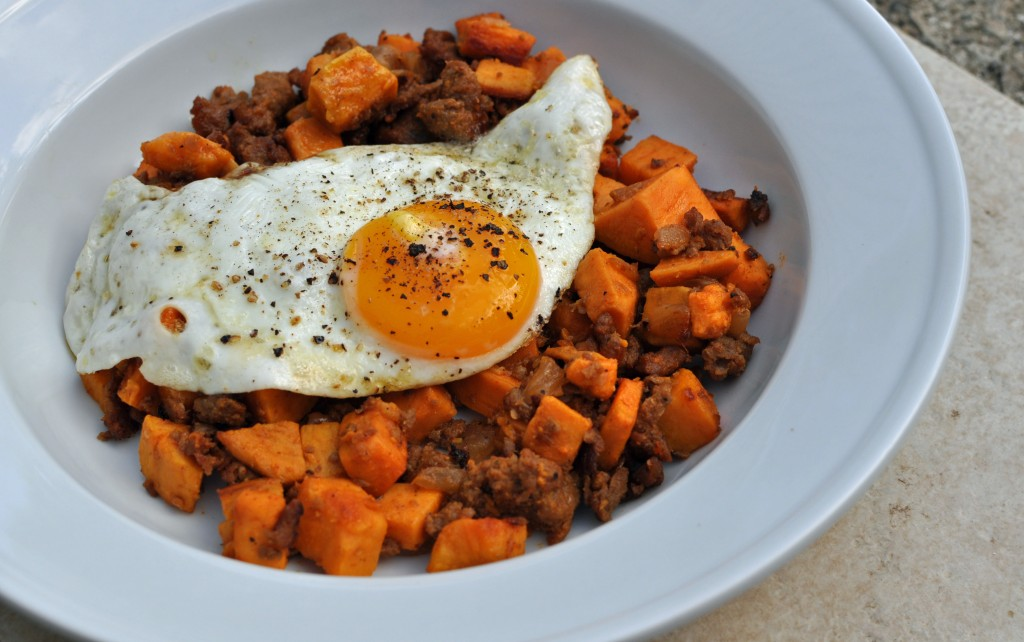 Sweet Potato and Sausage Hash with Fried Egg 3