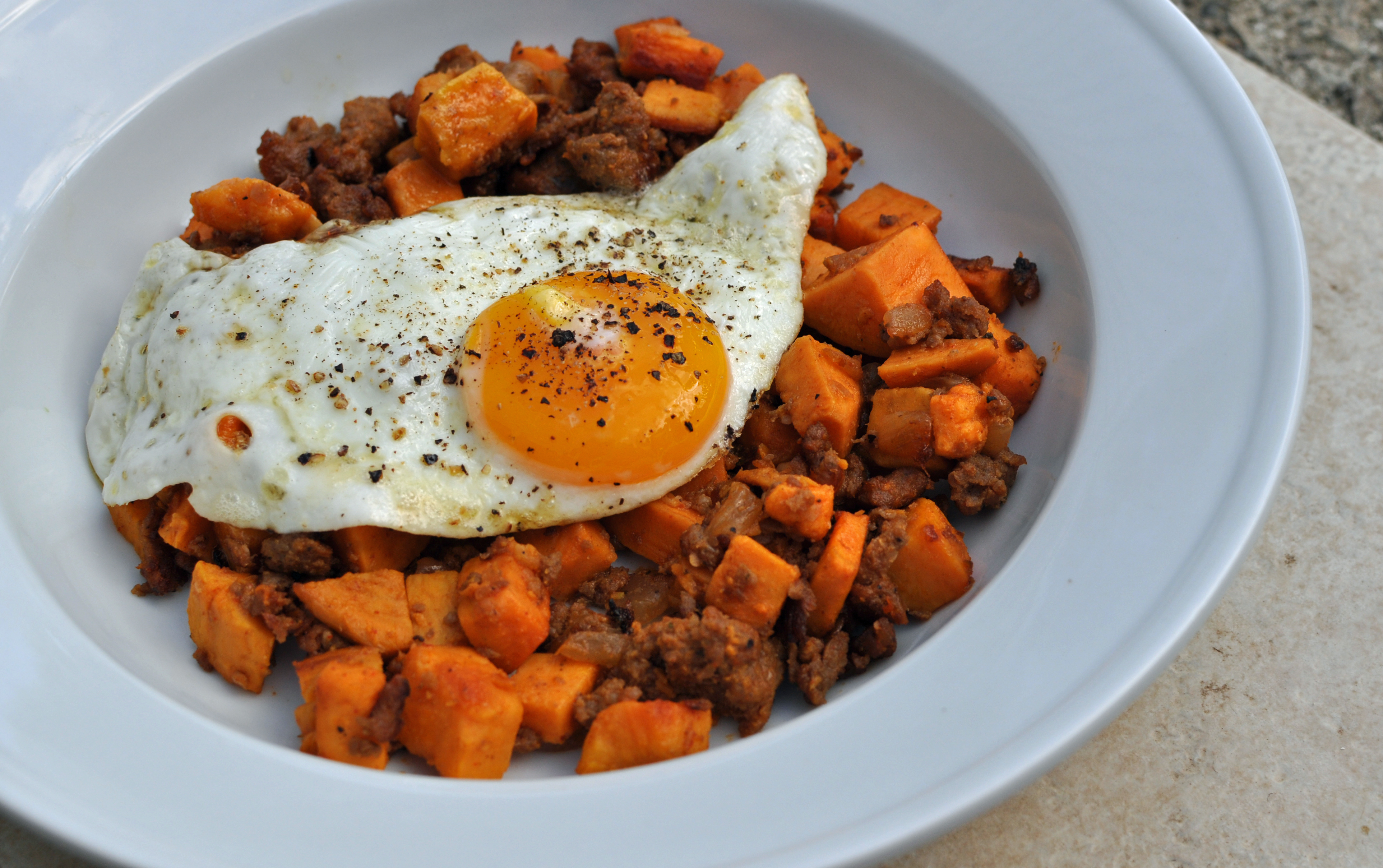 Sweet Potato and Sausage Hash with Fried Egg | Megan Opel ...