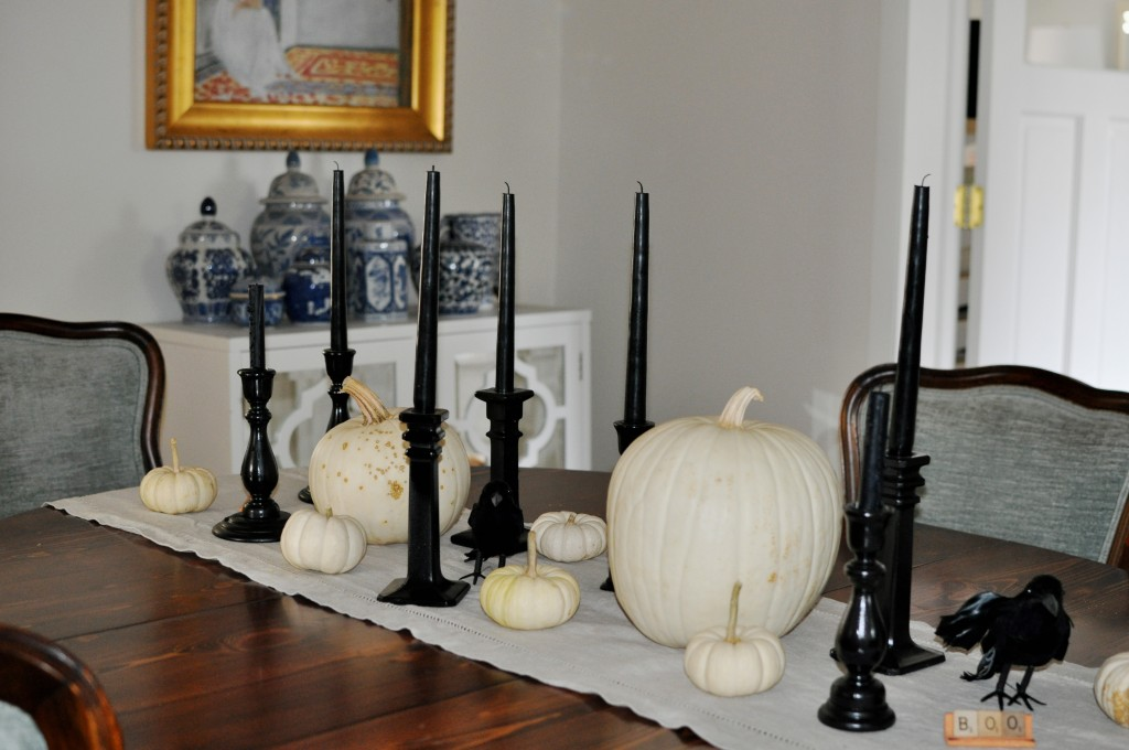 Black and White Halloween Tablescape 2