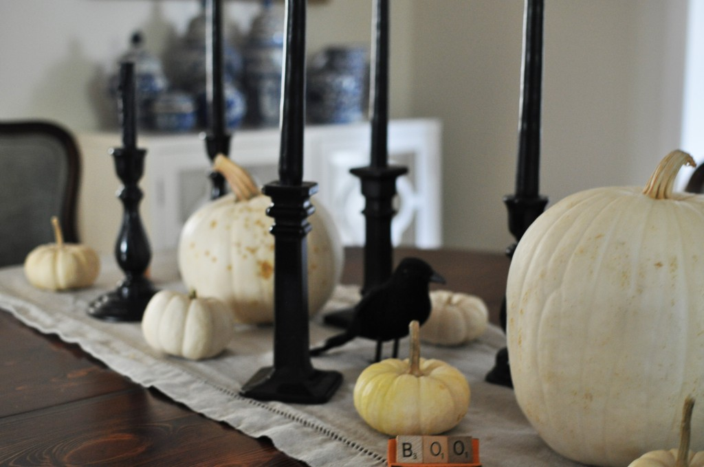 Black and White Halloween Tablescape 5