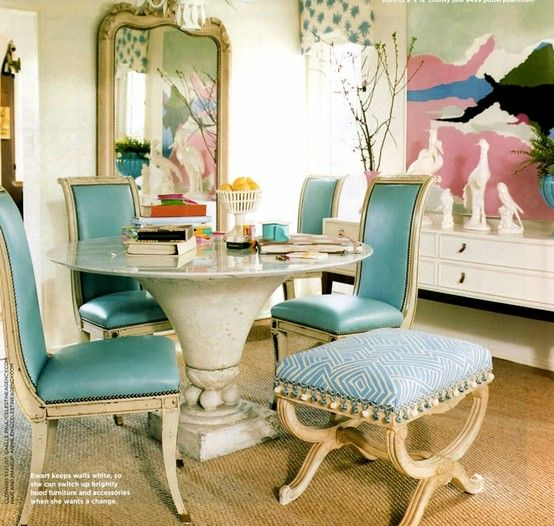 Tiffany blue leather antique chairs with distressed white frame - domino 2
