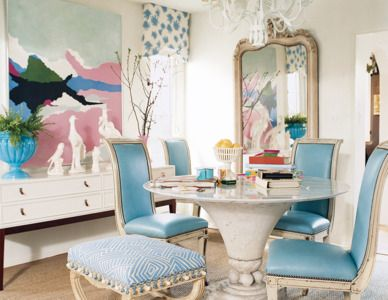 Tiffany blue leather antique chairs with distressed white frame - domino
