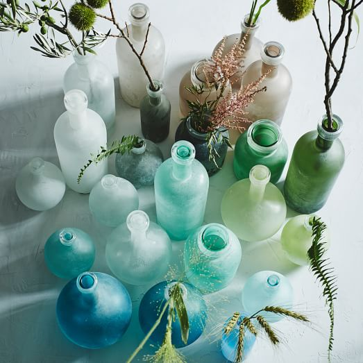 sea blue glass waterscape vases