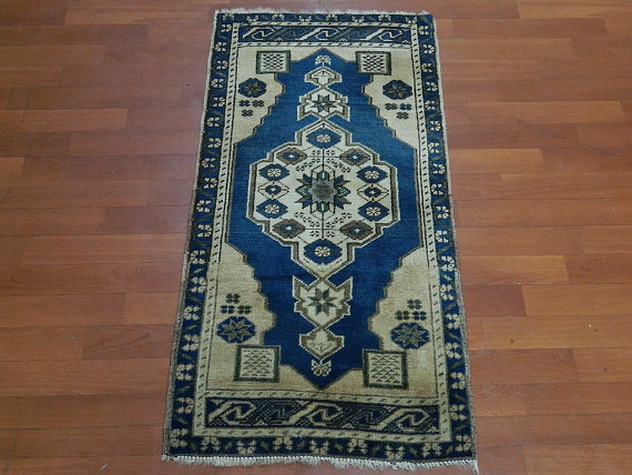 small vintage blue turkish rug
