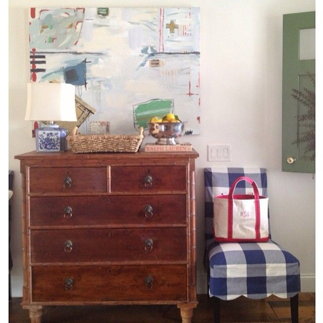 buffalo check scalloped slipcovered parsons chair