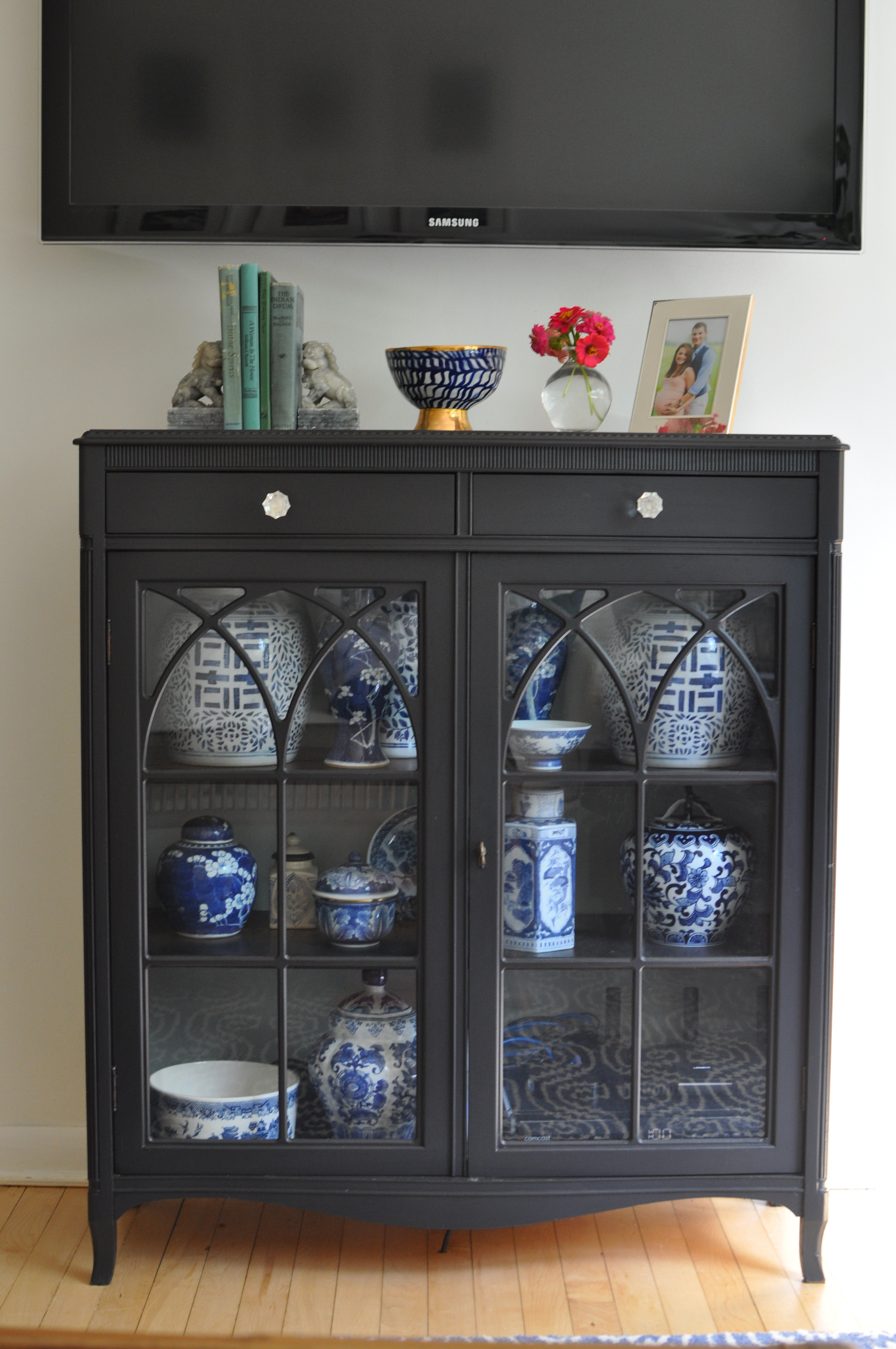 Vintage Bookcase Turned Media Cabinet