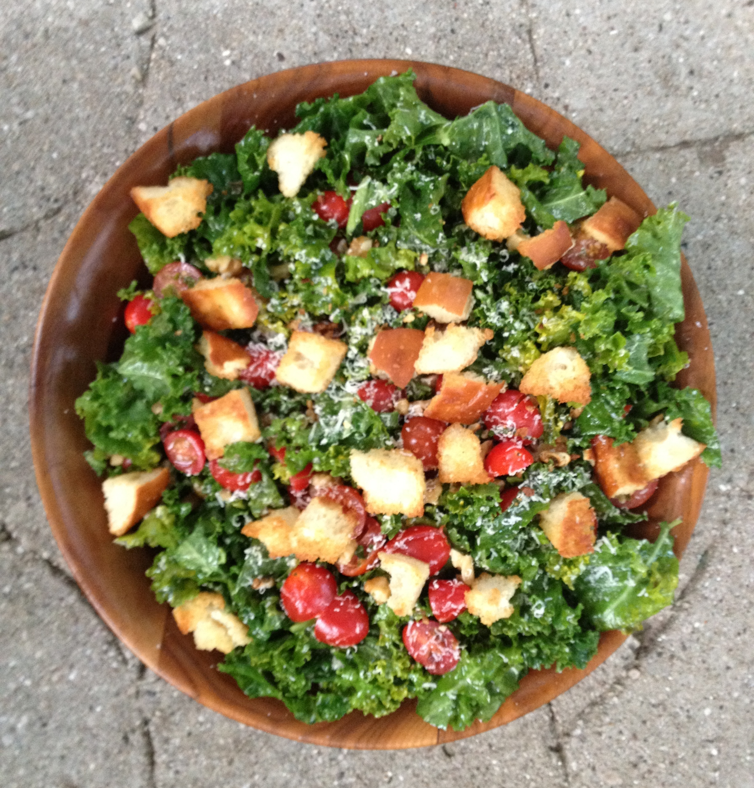 kale, walnut, and tomato salad with homemade croutons.