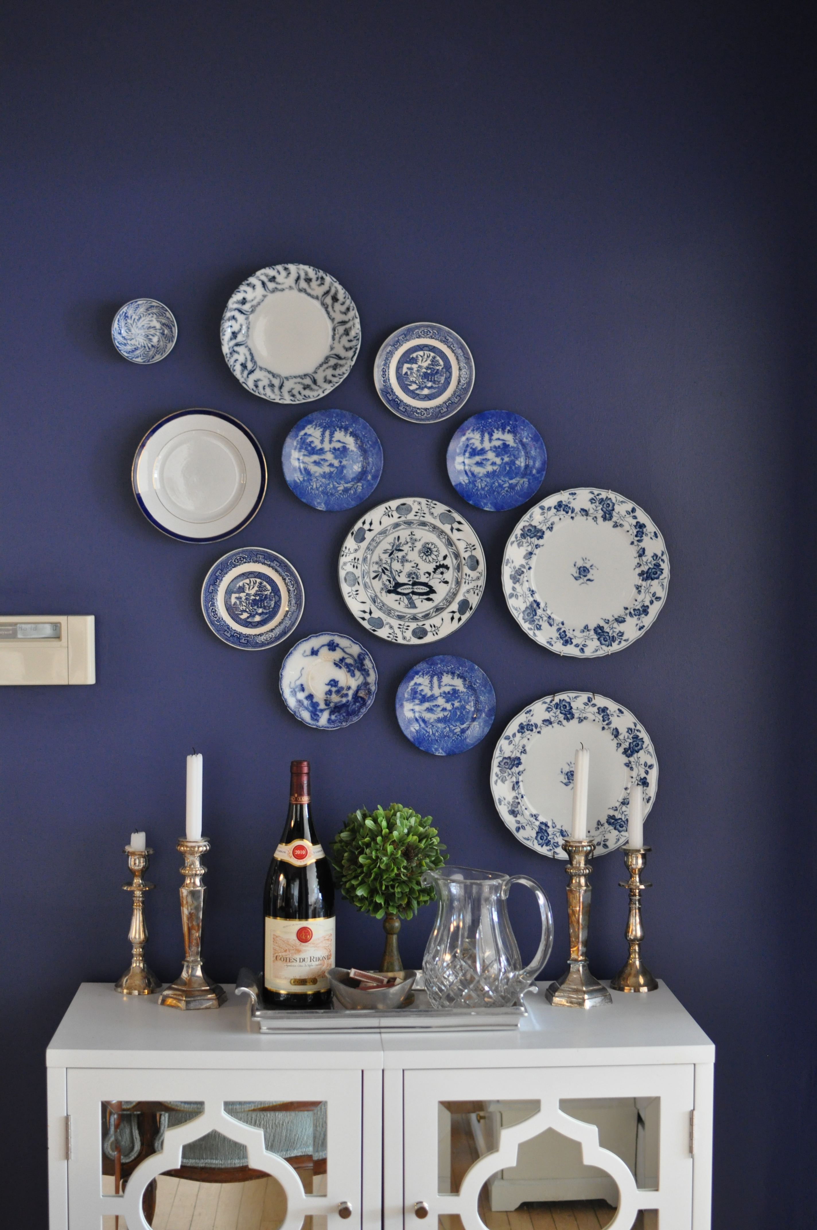 DIY Blue and White Antique China Gallery Wall